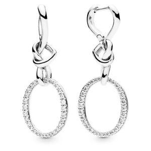 Genuine Pandora Sterling Silver Oval Knotted Heart Drop Earrings -298110CZ