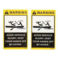 2Pcs/Set Warning Stickers Decals for Sea Kayak Fishing Boat Canoe Car Bumper