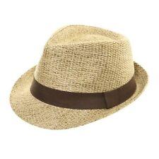 Mens Womens Ladies Straw Style Trilby Fedora Pork Pie Sun Summer Hat Natural 58cm