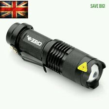 Flashlight CREE Q5 7W 2000LM LED Adjustable Focus Zoom Light Lamp Torch UK