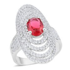 Red And White Vs Diamond Simulated Diamond Right Hand Ring 3.92 Tcw Size 7.5