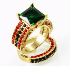 Set 2 Cocktail Emerald Crystal Fashion Statement Antique Gold Tone Ring sz 6