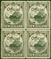 New Zealand 1941 4d Black & Sepia SG0126a P.14 V.F MNH Block of 4