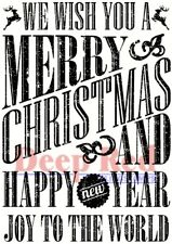 Deep Red Stamps Grungy Christmas Wishes Rubber Cling Stamp