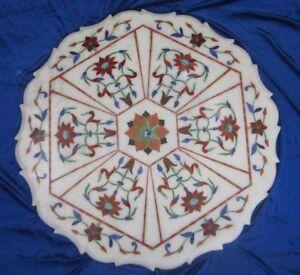 "24"" Semi Precious Stones Carnelian Marble Inlay Table Top"