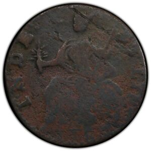 1786 Connecticut Colonial Copper Coin Mailed Bust Left PCGS F Detail Env Damage