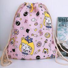 Sailor Moon pink canvas drawstring backpack shoulder bag school bag new