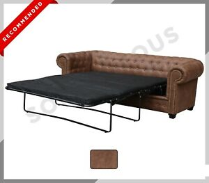 NEW ASTOR Chesterfield 2 Seater SOFA BED Distressed Brown Sued Leather