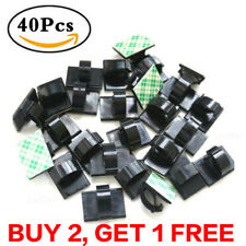 40pc Car Cable Clamp Wire Clips Self-adhesive Tie Holder Rectangle Cord Mount UK