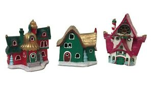 Lot of 3 Hallmark North Pole Glow Road Light Up Christmas Houses 2014 Special Ed