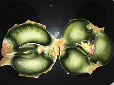 vintage italy colorful fish shaped ceramic serving platters (set of 2)