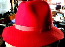 Lands' End Mens Fishing Bogart Red Felt Fedora Hat w/ Weave Ribbon -7 1/8 Medium