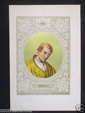 1879 PAPA DONO I DONUS I SANTO ANTICA STAMPA CROMOLITOGRAFIA PAPI POPE D247 m