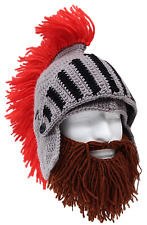 b2431b1a33b Barbarian Knight - Beard Head - Brown Knitted Beard + Knight s Helmet