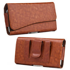 Brown Luxury Premium Leather Belt Clip Pouch Holster Phone Holder Horizontal