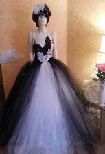 Black White GoddessTulle Crystal Sequin Lace Tutu Maxi Dress Wedding Ball Gown