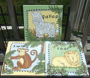 Kimberly Grant GALLOP SWING ROAR 3 Pc Canvas Wall Hangings Lion Monkey Kids