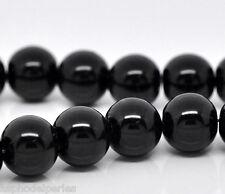 20 perles nacrées Renaissance 10 mm noir