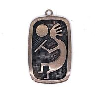 Estate Sterling Silver Navajo Kokopelli Rectangular Pendant! 79