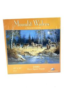 "Moonlit Wolves 1000 Piece Puzzle Marianne Caroselli 19""x30"" Sealed / New"