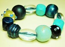 Large Bead Bracelet, Blue Wood, Glass & Plastis Beads Stretch/Adjustable