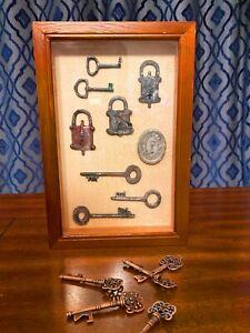 Hanging Key Cabinet - Wood Glass Windowed Key Holder with Latch & Decorative Key