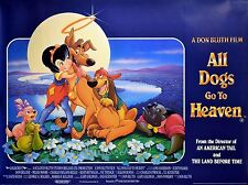ALL DOGS GO TO HEAVEN 1989 Don Bluth Animation UK QUAD POSTER