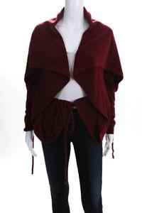 Shae Womens Long Sleeve Drawstring Shawl Collar Shrug Dark Red Size S