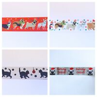 Christmas Ribbon Cats & Dogs Pug 25mm / 15mm For Gift Wrapping Card Craft Bows