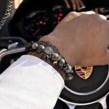 Luxury Men CZ Skull Crown Charm India Labradorite Natural Stone Beads Bracelet