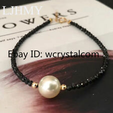 One White Shell Mother of Pearl Black Spinel Facet Bracelet Yellow Gold Filled