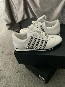 Genuine Men's DSQUARED 2 White Leather Studs Runner Sneakers UK 8.0 Eu 42