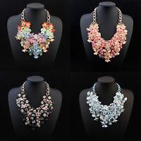 Fashion Jewelry Statement Flower Necklace Crystal Chunky Choker Collar Pendant
