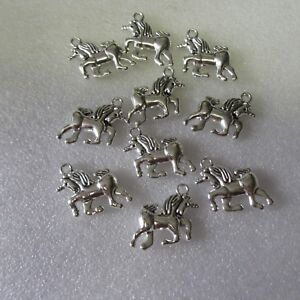 10 Unicorn Charms. SP.  Gift, Crafts Jewellery Making