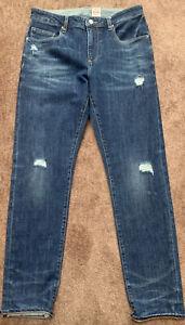"""New Mens Asos Design Distressed 12.5oz Stretch Slim Fit jeans W32 W L31"""" L"""