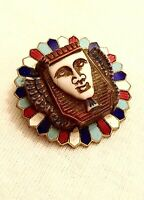 Excellent Art Deco Egyptian Revival Gilt, Enamel & Glass Brooch Neiger Interest