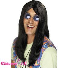 Mens Neil 1960s Hippy Hippie Black Wig 60s 70s Groovy Wigs Costume Accessories