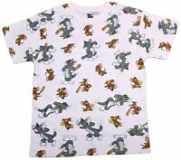 Mens Tom and Jerry All Over Throwback 80s 90s Cartoon Pink T-Shirt Tee New