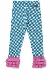 Matilda Jane Size 10 girl Leggings Strike A Pose Make Believe check Ruffle Blue