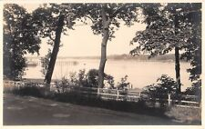 1930's RPPC Trees Dock Shore Manhasset Bay ? LI NY
