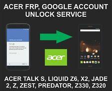Google Remote Unlocking, For Acer Liquid Z6 Plus, Zest, Zest 4G, Jade 2, Z630S