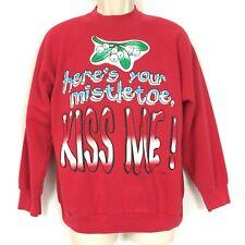Vintage Christmas Sweatshirt L Mistletoe Kiss Me Freeze Warner Bros 90s Large