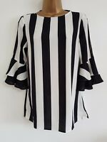 NEW Cold Shoulder Monochrome Striped Black White Flute Sleeve Chiffon Top Blouse