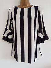 NEW Cold Shoulder Monochrome Striped Black White Flute Sleeve Chiffon Top Blouse