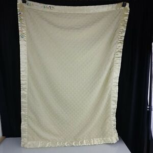 Carters Just One Year Yellow Baby Blanket Minky Dot Love You From A-Z Satin Trim