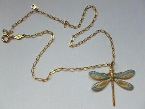 Vintage Catherine Popesco France Gold Tone Enamel Dragonfly Necklace