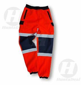 Hi Viz Vis High Visibility Orange Joggers Trouser Reflective Fleece Safety Work