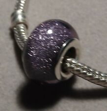 9 colours 'GLITTER Beads'  Silver Plated European Glass Beads   (m228)