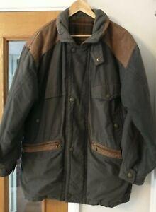 """St Michael M&S Men's Navy Coat Size M 38-40"""" chest Leather trim Vintage"""