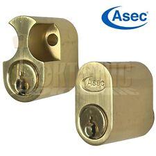 Asec 6-Pin Scandinavian Oval lock External Internal Cylinder Brass Finish Barrel
